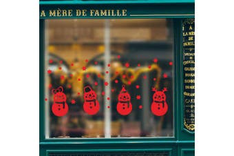 Christmas Snowman Window Sticker- Red