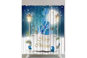 Christmas Gift Print Polyester Waterproof Bath Curtain- Colormix W71 inch * L79 inch