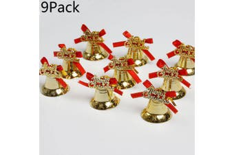 9Pack Christmas Tree Gold Color Small Bell Decorations Creative Christmas New Pendant- Gold