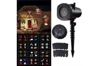2019 Newest Version 12 Patterns Waterproof Decorations Christmas Projector Light- Black EU Plug