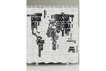 Letters World Map Print Shower Curtain- Black and Grey W71 inch * L79 inch