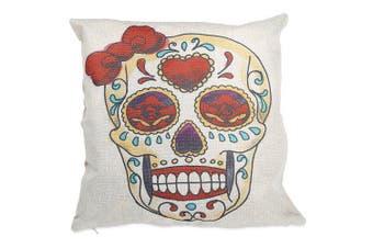 Skull Pattern Cotton Linen Pillow Cover Home Sofa Decor- Colormix Type A