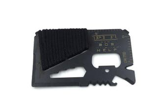 13-in-1 Credit Card Shaped Multi Functional Tool- Black