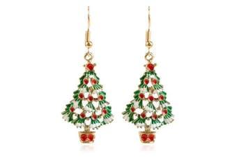 Creative Christmas Tree Pendant Earrings- Jungle Green