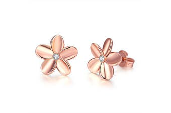 Fashionable K Gold Euramerican Popular and Contracted Flower Ear Nail- Rose Gold