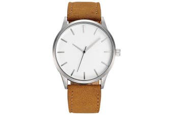 Fashion Leather Band Large Dial Male Quartz Watch- Brown White