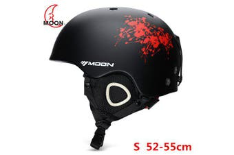 MOON Outdoor Integrated Skiing Helmet with Adjustable Strap Air Vent Cycling Skating Sports Helmet- Black and Red S 52 to 55cm China