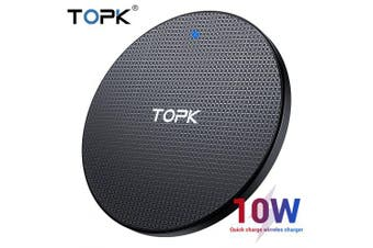 TOPK Wireless Charger for iPhone Xs Max X 10W Fast Charging Pad for Samsung Note 9 Note 8 S10 Plus- Black EU China