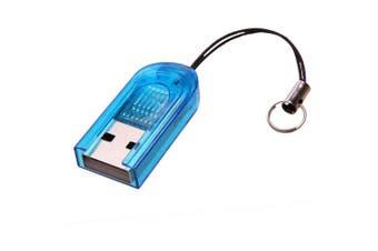 Mini USB 2.0 TF Memory Card Reader- Blue