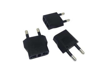 Minismile 3Pcs 1500W EU Plug to US / AU Socket Portable Charger Power Adapter- Black Pack of 3
