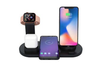 Multi-function 3-in-1 Bracket Charging Stand Watch Mobile Phone Headset Charger- Black