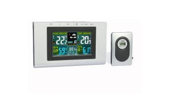 XY - TQ3 Weather Forecast Clock Creative Home Wireless Temperature and Humidity Meter LCD Electronic Screen- Silver