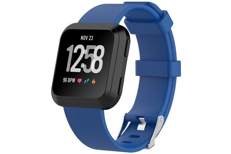 Smart Intelligent Silicone Watch Wrist Strap for Fitbit Versa- Lapis Blue