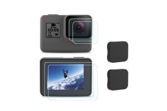 Tempered Glass Screen Protector + Camera Lens Film + Lens Protective Cap Set- Transparent