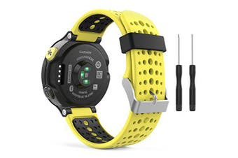 Soft Silicone Replacement Watch Band for Garmin Forerunner 235 / 220 / 230 / 620 / 630 / 735 Smart Watch- Yellow + Black