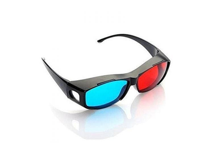 Blue and Red 3D Eyeglasses Cyan Anaglyph Simple Style Extra Upgrade Style To Fit Over Prescription Glasses for Movies Games- Blue and Red
