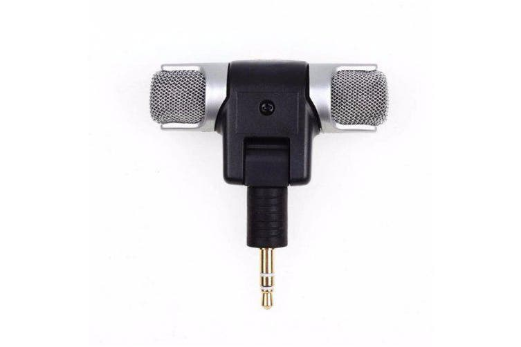 Portable Stereo Karaoke Microphone Mic PC Laptop Mobile Phone Recorder- Silver