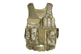 Outlife Tactical Vest Military Swat Assault Shooting Hunting Molle Vest Plate Carrier with Holster- CP Camouflage