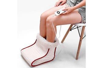 Electric Heating Foot Warmer with Detachable Plush Lining- Milk White EU Plug