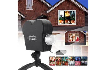 Mini Holiday Video Window Projector Lamp Halloween Christmas Light 12 Movies- Black