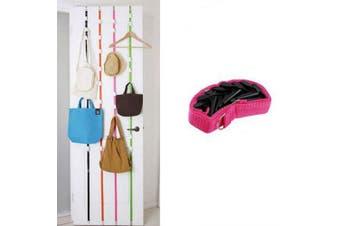 Multipurpose Stainless Steel Over Door Straps Hanger Nylon Belt Coat RackHat Bag Key 8 Hooks- Pink