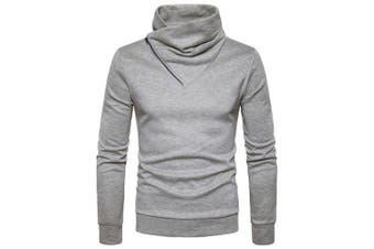 Zipper Scarf Collar Casual Sweater for Man- Light Gray L
