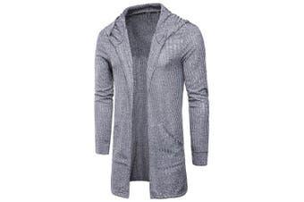 Hooded Vertical Stripe Longline Knitting Cardigan- Gray XL