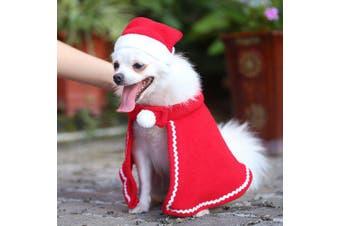 Christmas Pet Cloth Set Dog Hat Cloak- Red