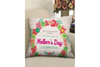 Mother's Day Wreath Print Linen Pillowcase- Multi W18 inch * L18 inch