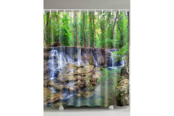 Forest Stream Print Waterproof Shower Curtain- Colormix W71 inch * L79 inch