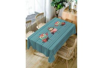 Cartoon Owls Print Fabric Waterproof Table Cloth- Blue Green W54 inch * L72 inch