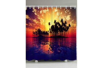 Sunset Seascape Print Waterproof Shower Curtain- Colormix W71 inch * L71 inch