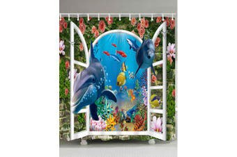 3D Window World Sea Dolphin Print Fabric Shower Curtain- Blue W71 inch * L71 inch