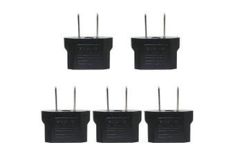 Minismile 5PCS 25V-250V 10A Universal EU / US Socket to US Plug AC Power Adapter / Charger Kit- Black 5PCS