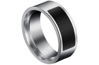 Stainless Steel Ring Type NFC Control Smart Bracelet- Black US 12