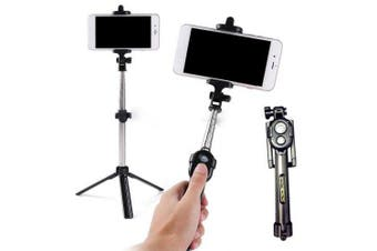 Fashion Selfie Stick Retractable Tripod Bluetooth Remote Shutter- Jet Black