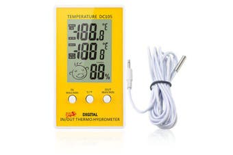 DC105 LCD Digital Thermometer Hygrometer Weather Station Household Indoor- Yellow
