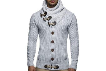 Men's Sweater High Collar Plus Velvet Personality Retro- Light Gray 3XL