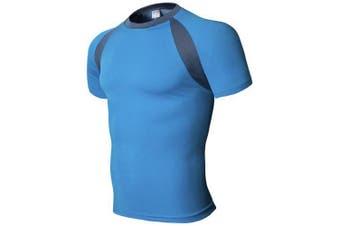 1358 - TX01 Men's T-shirt Slim Fit Dryer Short Sleeve- Blue M