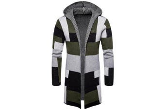 Collarless Hooded Color Block Long Cardigan for Man- Fern Green L