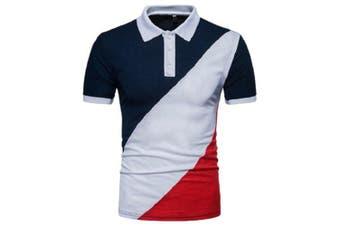 Men Fashionable Turn-down Collar T-shirt- Multi-B 2XL