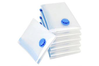 House Vacuum Storage Bag Foldable Edge Transparent Clothes Sealing Bags Space Saving Travel Pack- Deep Sky Blue 70*50