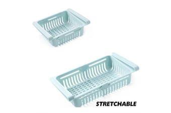 Stretching Fridge Drawer Refrigerator Shelves Storage Organizer Refrigerator Storage Box- Blue