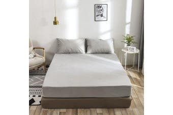 Waterproof Bedspread Isolation Hood Machine Washable Solid Color Sanding Mattress Cover- Light Gray US-K