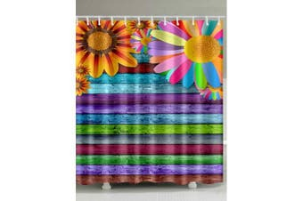 Sunflowers Colorful Wooden Board Printed Shower Curtain- Multi W71 inch * L71 inch