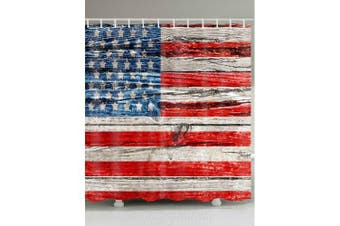 American Flag Printed Waterproof Polyester Bath Curtain- Colormix W71 inch * L79 inch