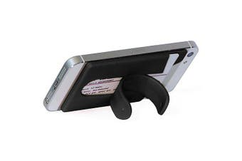 Silicone Wallet Mobile Smart Adhesive Sleeve Card Holder for Phone with Stand- Black