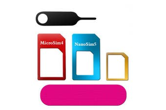 5-in-1 Nano Micro Standard SIM Card Adapter Converter Set- Multi