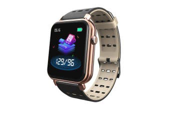 Heart Rate Blood Pressure Oxygen Fitness Waterproof Sports Smart Watch- Black with gold China