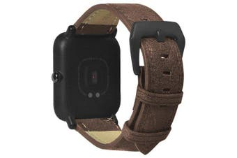 20mm Genuine Leather Strap for Xiaomi Huami Amazfit Bip Youth Smart Watch- Coffee